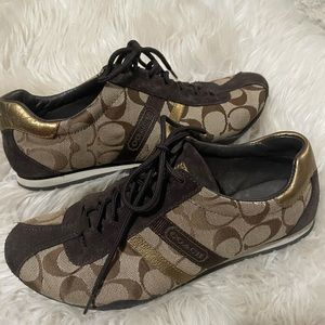 Coach Katelyn Sneakers in brown and gold